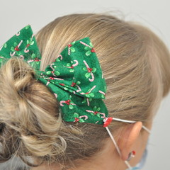 Christmas Candy Canes Bow Ear Saver for Ear Loop Face Masks
