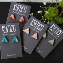 Triangle resin original art stud earrings - various colours