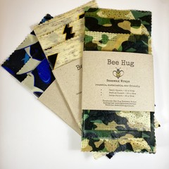 Beeswax Wraps - Boys Choice Lunchbox Pack