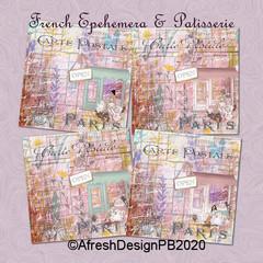 French Ephemera & Patisseries 8x8 Printables