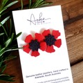 Red Poppy, Genuine Leather Stud Earrings