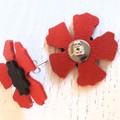 Red Poppy, Genuine Leather Stud Earrings