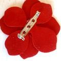 Red Poppy, Genuine Leather Brooch