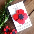 ":""Remembrance Poppy"", Genuine Leather Brooch"