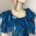 Deep turquoise blue, Frayed, tattered, recycled silk boho scarf collar