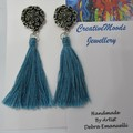 Turquoise Drop Dangle Stud Earrings with Tassels