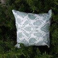 SAGE AND WHITE  OUTDOOR CUSHION COVER/45 CM X 45CM
