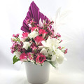 Hot Pink Artificial Flower Arrangement with Palm - Christmas Gift