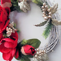 Red Magnolia & Gold Xmas Wreath - Traditional Christmas Decor - Christmas Gift