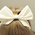 White Linen Bow Ear Saver for Ear Loop Face Masks