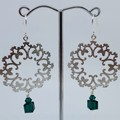 Silver Christmas Wreath Dangle Earrings