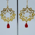 Gold Christmas Wreath Dangle Earrings
