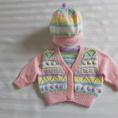 Hand Knitted Baby Jacket and Hat 0 3 months