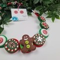 Gingerbread Man - Christmas - Necklace Buttons Polymer - Jewellery - Earrings