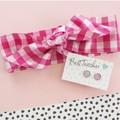 Gift set - Earrings and pink gingham hair tie