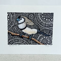 Australian Birds -Double-Barred Finch  2/25 - Linoprint and Watercolour