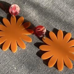 Orange gerbera earrings