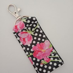 Chapstick / lipstick holder black and white with pink rose