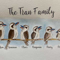 Kookaburra Family Art - Personalised Hand painted Watercolour A4 Art in A3 Frame