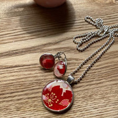 Japanese washi paper resin Necklace with ball beads chain and earrings