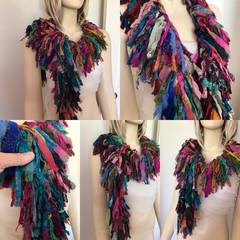 Recycled silk chiffon boho boa scarf