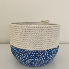 Rope Basket - Blue Floral Fabric Base (Round)