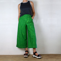 Cropped Wide Leg Green Cotton Pants with Hand Painted Lime Green Splatter