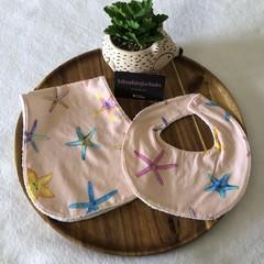 'Starfish' Newborn bib & Burp cloth