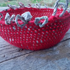 Crocheted basket made from cotton and newspaper yarns. Eco-friendly homeware