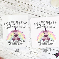 Novelty Mug & Coaster  - Back the fuck up sprinkle tits