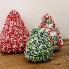 CHRISTMAS Trees - Set of 3 - Crocheted - Home decor, Christmas decor, Christmas