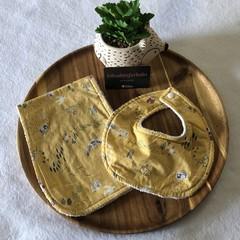 'Happy Trail' Newborn bib & Burp cloth
