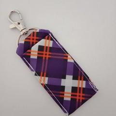 Purple check chapstick / lipstick holder