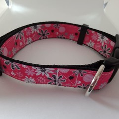 Pink black and white flower adjustable dog collars medium / large