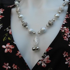 Enchanted Beaded Necklace White