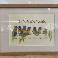 Rainbow Lorikeet Family Art Personalised Watercolour Painting