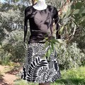 Black and White Leaf Skirt with Bamboo Stretch Waist