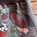 Grey-Blue Skirt with Bird & Bamboo Stretch Waist
