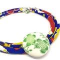 Kimono Cord Necklace Green Florals