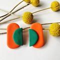 Orange & Green Oblong Studs
