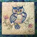 Batik cushion cover - Owl