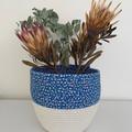 Rope Basket - Blue Floral Fabric Trim (Round)
