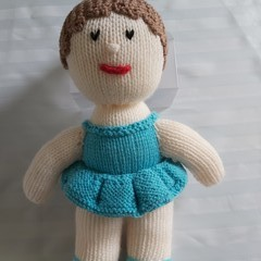 HAND KNIT TURQUOISE DOLL