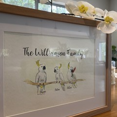 Cockatoo Personalised Family Watercolour Painting - Custom Painted