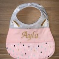 Personalised decorative feeding bib, dribble bib, baby shower gift,