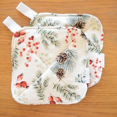Matching Set of 2 Potholders - White Christmas