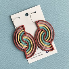 Double Rainbow Wooden Statement Earrings
