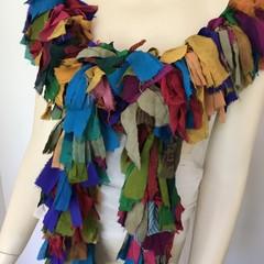Recycled silk boho boa scarf