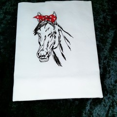 Tea Towel with Horse machine embroidered
