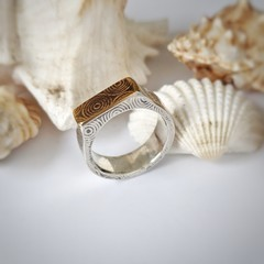 signet hollow form ring, sterling silver and brass, size T1/2